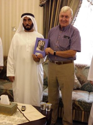 David Neild presents A Soldier in Arabia to Sheikh Sultan bin Ali of the Khuwatir tribe
