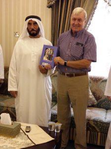 David Neild presents A Soldier in Arabia to Sheikh Sultan bin Ali of the Khuwatir tribe